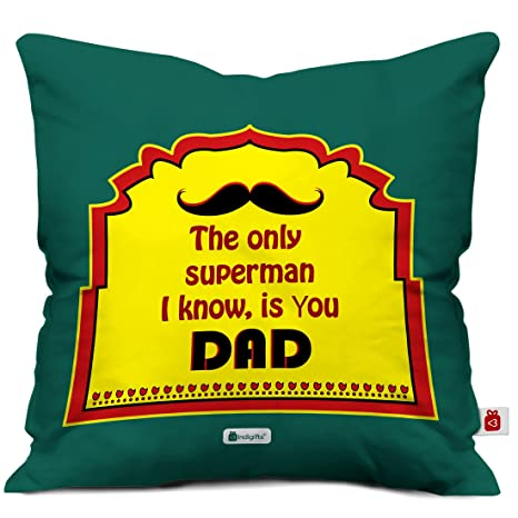 Indigifts Dad Birthday Gifts Superman Unique Cushion Cover 12x12 Inches With Filler Green