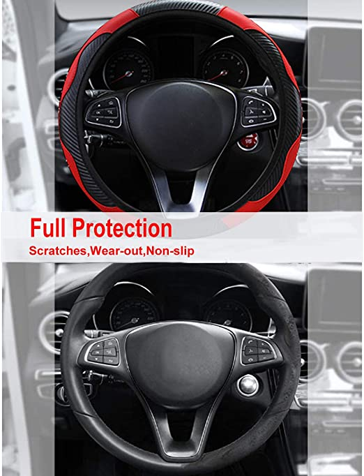 YUDICP Car Steering Wheel Cover Leather Breathable Anti-Slip Carbon Fiber Sports Elastic Band Without Inner Ring Wheel Cover for Fit Four Seasons black-red