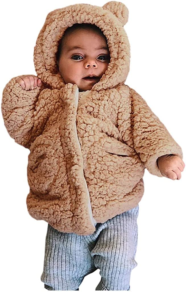 squarex 0-24 Months Baby Coats,Toddler Baby Winter Long Sleeve Warm Fleece Hooded Zipper Outerwear Coats Long Sleeve Autumn Winter Christmas Day Party Coats