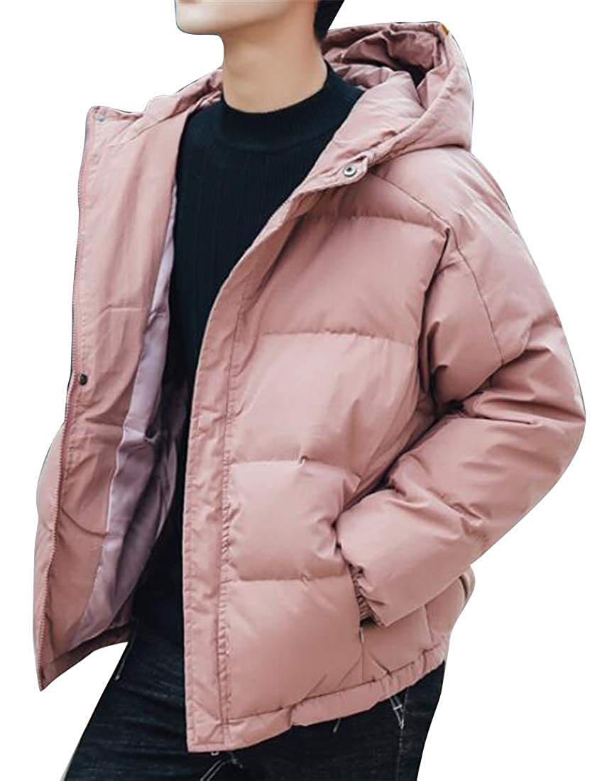 Jofemuho Mens Winter Hoodie Warm Pure Color Plus Size Down Quilted Jacket Coat