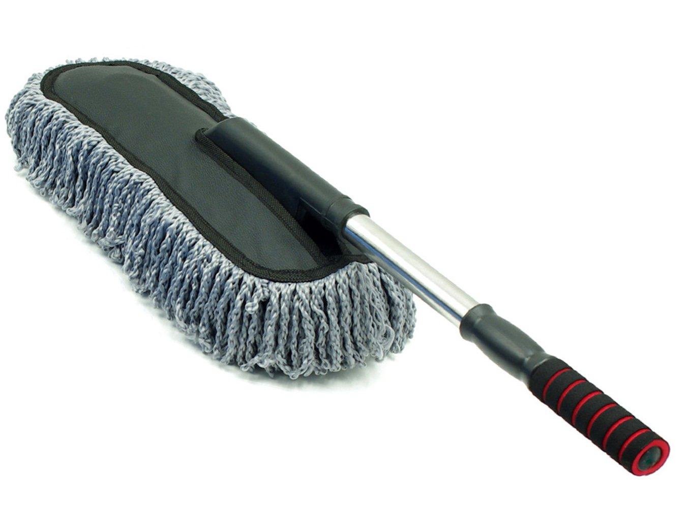 Wenwan mango largo retrá ctil lavado de coches fregona cepillo de coche cepillo de cera de microfibra plumero coche (azul)