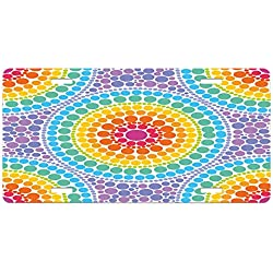 Rainbow License Plate by Lunarable, Concentric Circles Retro Inspired Color Scheme Psychedelic Art Dotted Pattern, High Gloss Aluminum Novelty Plate, 5.88 L X 11.88 W Inches, Aqua Multicolor