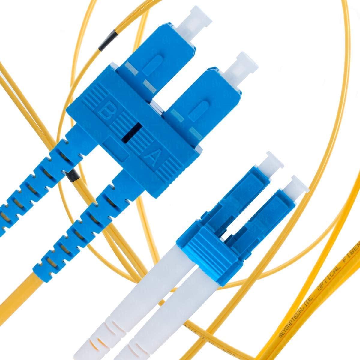 Serie PureOptics - Beyondtech Cordon de Brassage C/âble Fibre Optique 9//125um OS1 LSZH UPC//UPC Jarreti/ère Optique SC a SC 2M Monomode Duplex