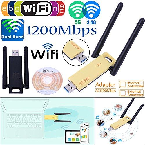 KuWFi USB Wireless Adapter AC 1200mbps USB WiFi Adapter Dual Band USB Wifi Adapter for Faster Wifi-Wireless adapter for Desktop and Laptop-1200Mbps Dual band-USB Wifi Antenna for better by KuWFi