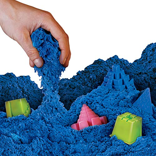 NATIONAL GEOGRAPHIC Play Sand - 12 LBS of Sand with Castle Molds (Blue) - A Kinetic Sensory Activity (Moon Sand Table)