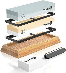 Premium Knife Sharpening Stone Kit, YIMIAY 4 Side Grit 400/1000 3000/8000 Whetstone, Knife Sharpener Waterstone with Non-Slip Bamboo Base & Flattening Stone & Angle Guide