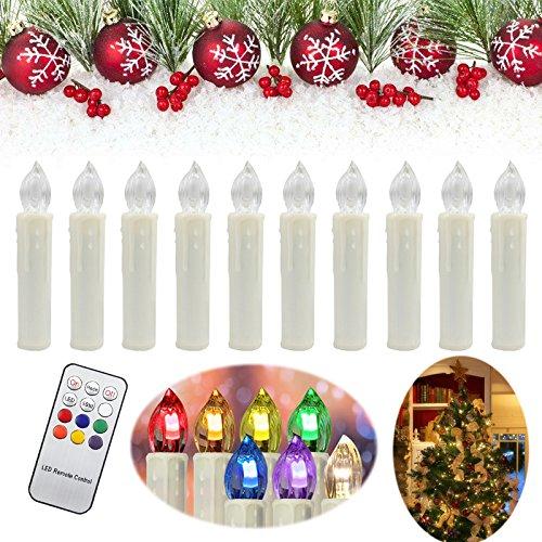 HENGDA® 50stk.LED Lichterkette Christbaumschmuck Party Weihnachtskerzen IR Kabellos Set Fernbedienung