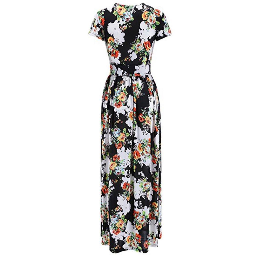 Pandaie Women Dresses, Womens V-Neck Short Sleeve Print Dress Lady Beach Summer Maxi Long Dress