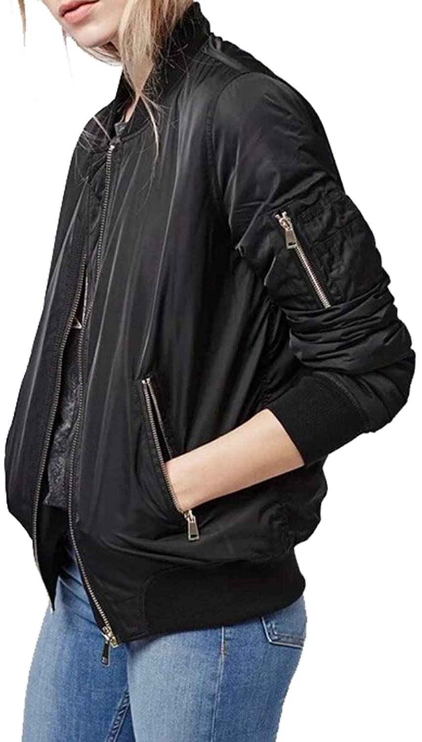 KXP Womens Casual Back Ruched Pocket Autumn Solid Bomber Jackets