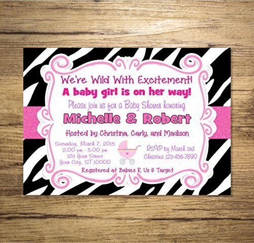 Zebra Print Girl Baby Shower Invitation, Animal Print Girl Baby Shower Invitations, Pink And Black ()