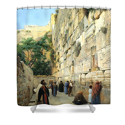 Pixels Shower Curtain (74'' x 71'') ''The Wailing Wall Jerusalem'' by Pixels