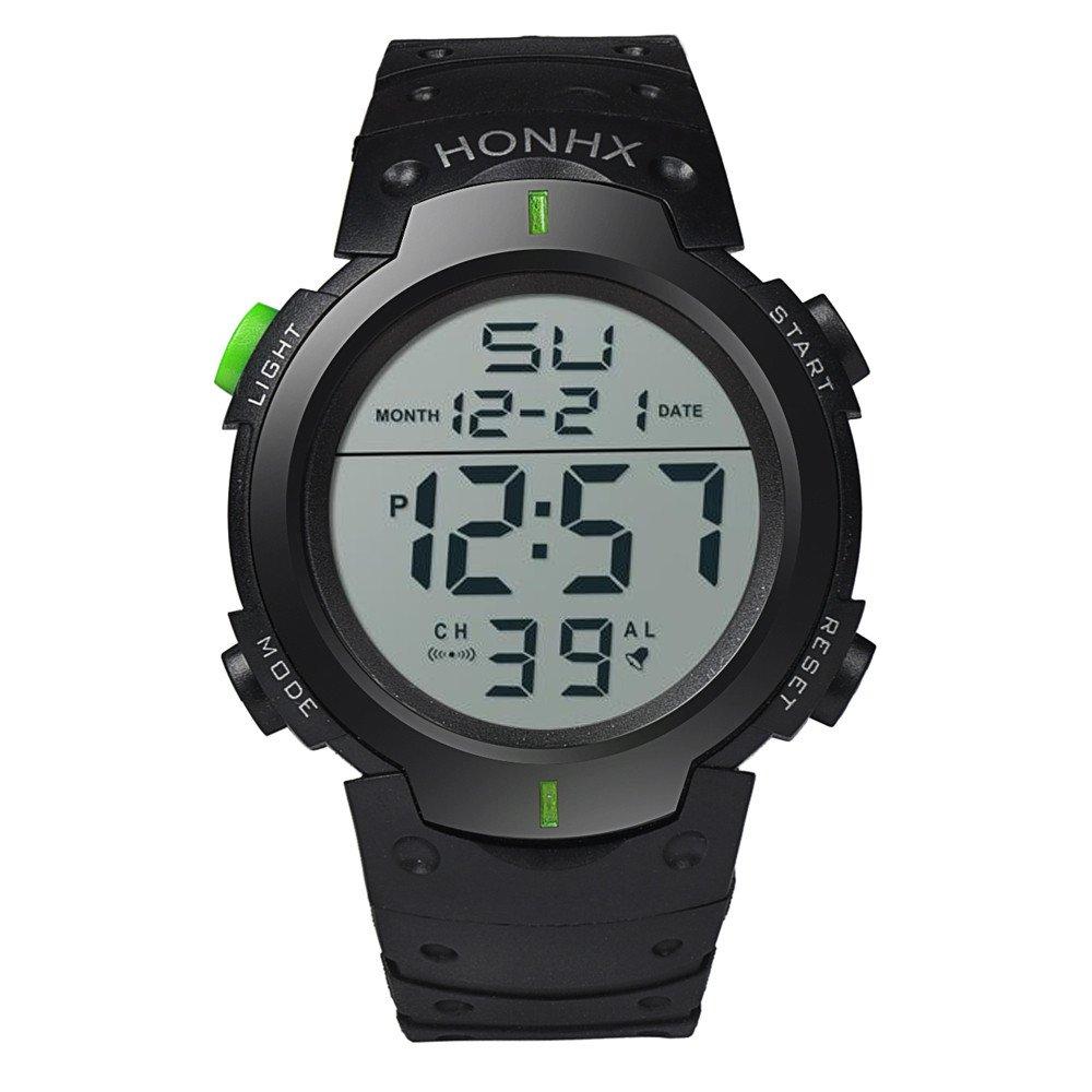 Casual Watches for Men Clearance,Fashion Waterproof Men's Boy LCD Digital Stopwatch Date Rubber Sport Wrist Watch,Sports Fan Watches,Green by CieKen Watch (Image #4)