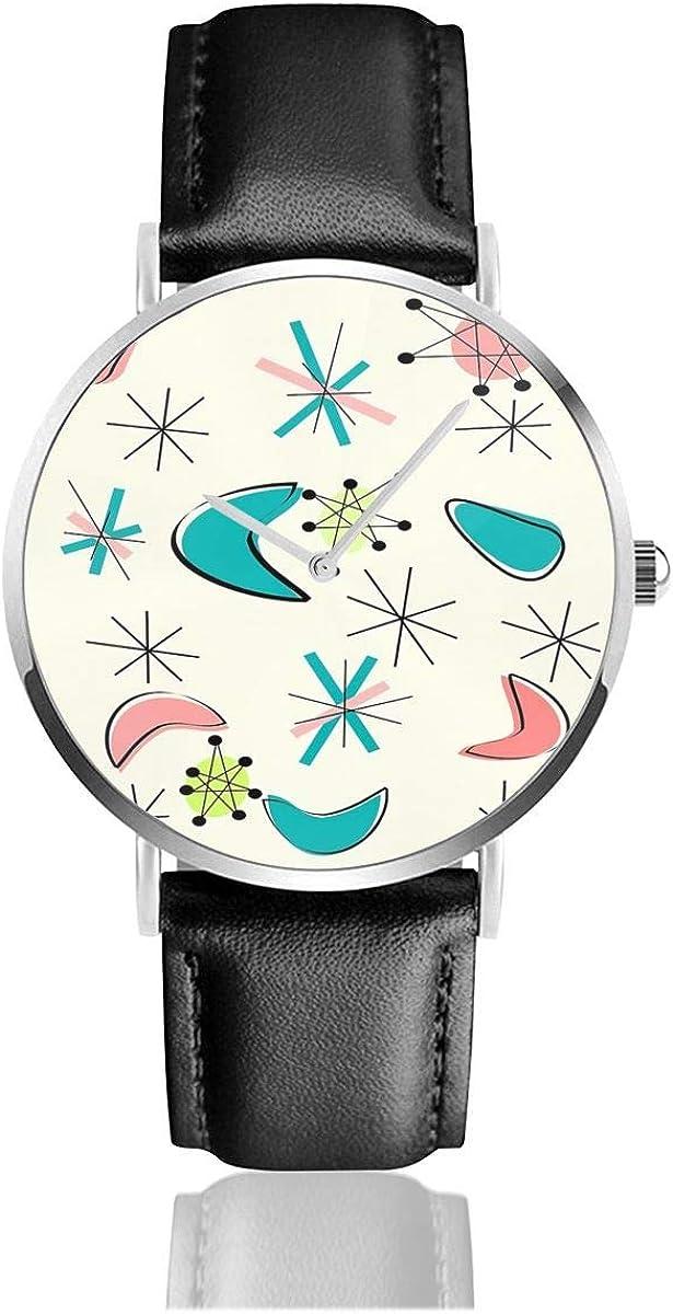 Mid Century Atomic Age Inspired Reloj de Pulsera de Cuero con Correa de Reloj de Cuarzo de Acero Inoxidable clásico Casual