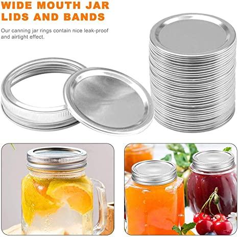 12 Pcs Regular Mouth Mason Jar Lids and Rings Split-type Lids Leak-Proof and Secure Canning Jar Caps Prevent leakage for Mason Jars 70mm ring cover sheet Regular Mouth Canning Lids