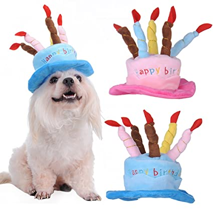 Yunt Cute Pet Dog Puppy Cat Happy Birthday Party Hat With Cakes 5 Colorful Candles