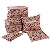 Genluna 6 set travel Organizers Packing Cubes Luggage Organizers Pouches Brown Leopard