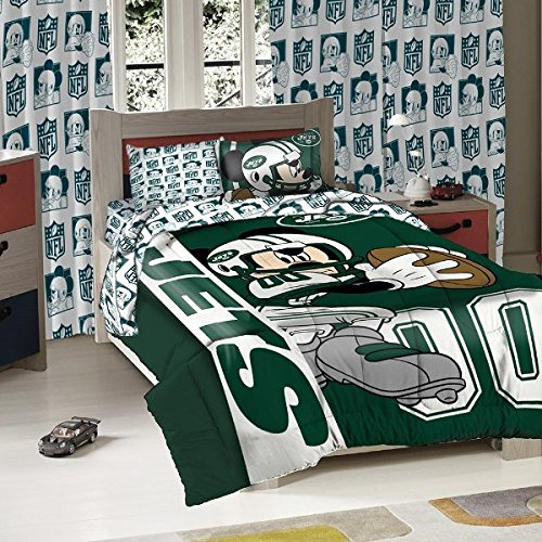 The Northwest Company 5923868 The New York Jets NFL and Disney's Mickey Mouse Twin Sized Comforter with Shamx, Multi ()