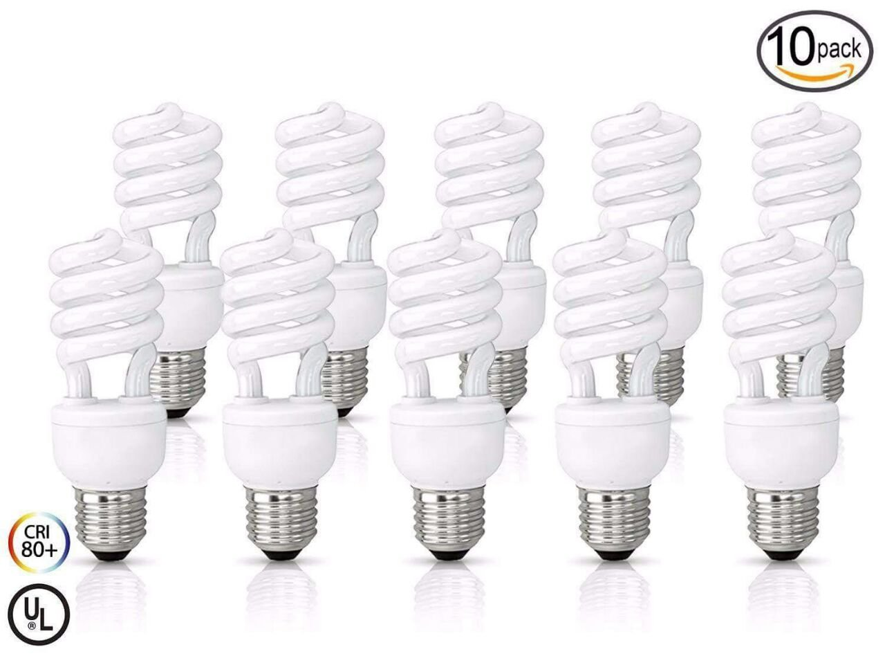 (10 Pack) 11 Watt Compact Fluorescent Light, Warm White 2700K, Super Mini Spiral Medium Base CFL Light Bulbs