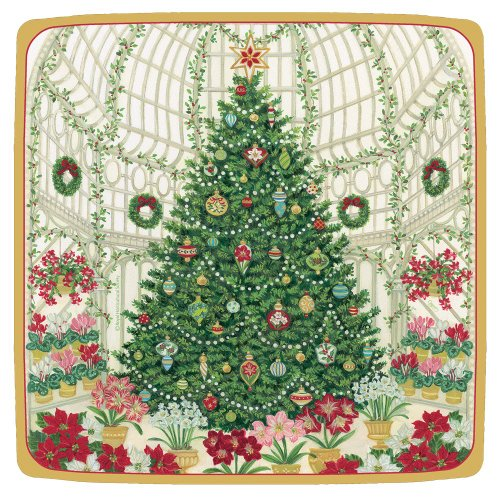 Entertaining with Caspari Entertaining Square Salad and Dessert Plates, Christmas at the Garden Square, Pack of 8