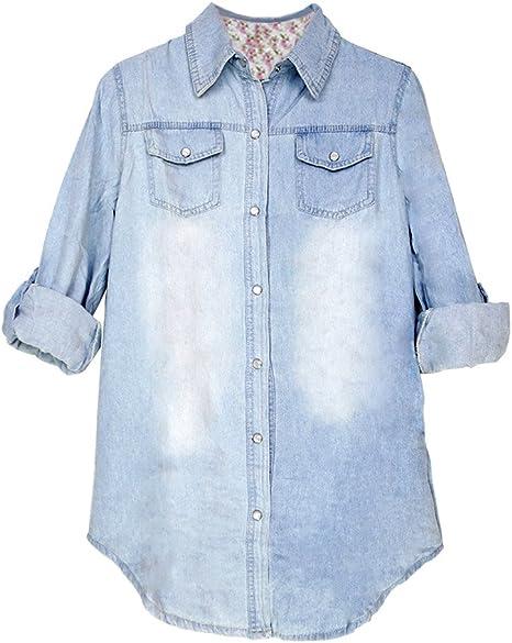 Eleery - Camisa tejana para mujer de tejido denim, de manga larga, azul claro, extra-large: Amazon.es: Deportes y aire libre