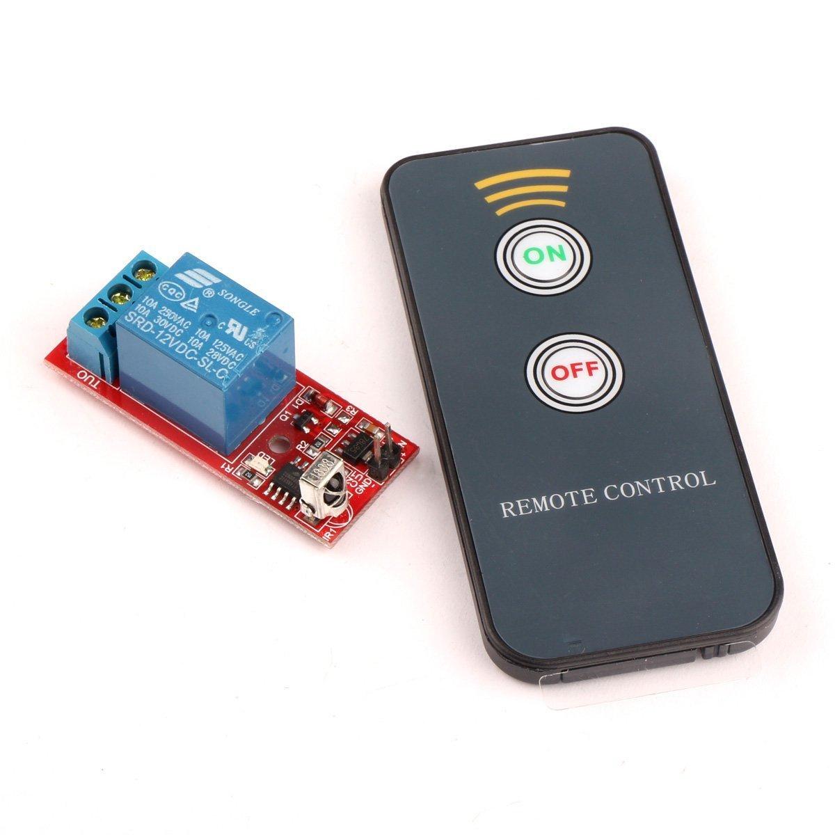 Droking Infrarot-Empf/änger Relais-Treiberplatine Fernbedienung 8M Wireless Controller LED Plattenplatine IR-Fernbedienung Schalter-1 12V Selbsthemmend
