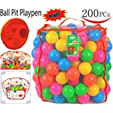 200 Plastic Pit Balls with Foldable Ball Pit Playpen ñ BPA Free 5 Bright Colors Crush Proof Phthalate Free Pit Balls with Ball Pit in a Durable Mesh Bag with Zipper by Joyin Toy
