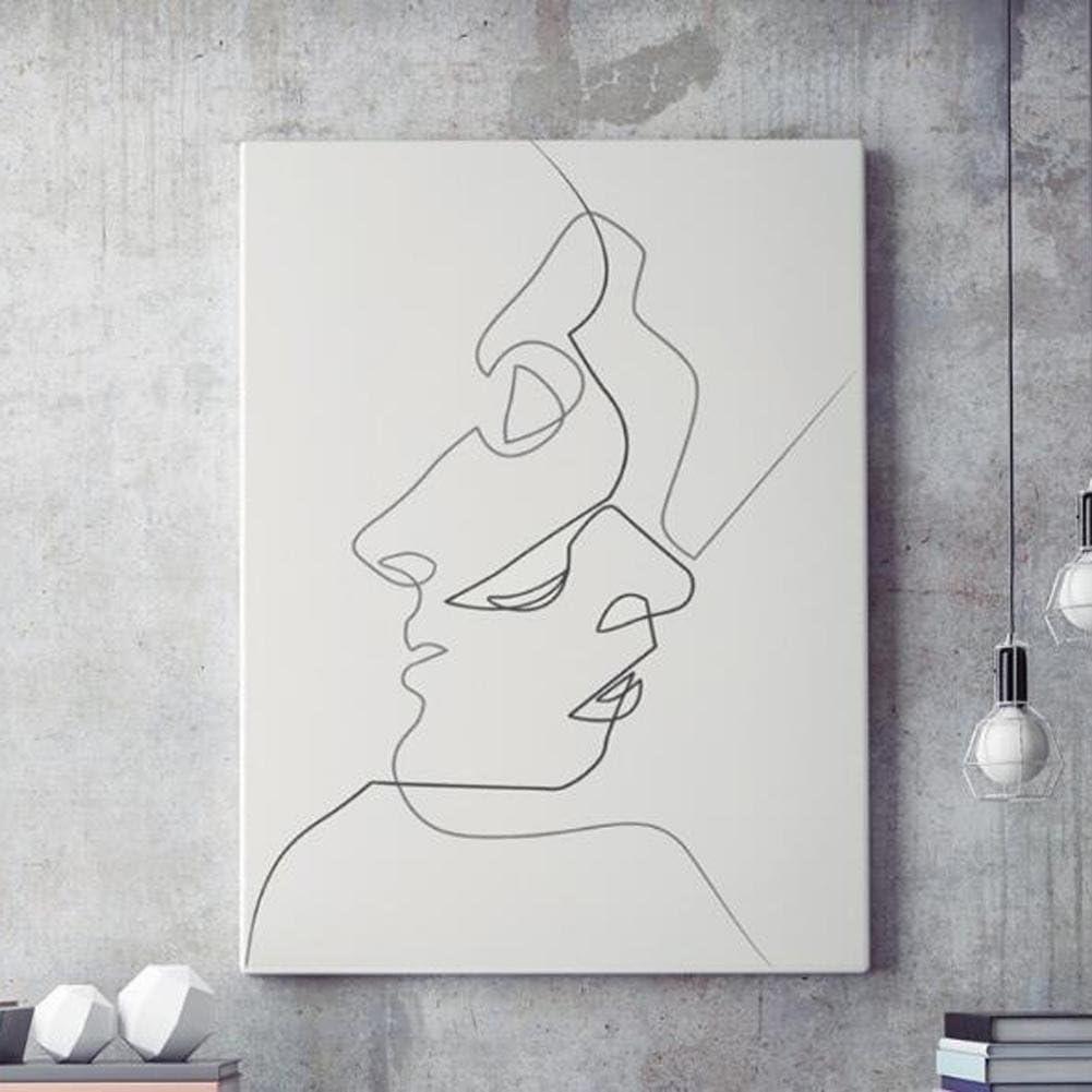 MINRAN DECOR K Pintura de Pared Impresión de Moderna de Lona Arte Decoración Salón Oficina Regalo - Beso, Dibujo Lineal Abstracto D235, 2, 50x70cm