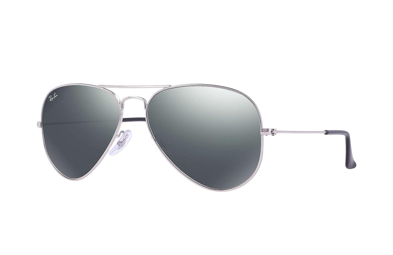 ff30bf7c950 Amazon.com  Ray Ban Aviator RB3025 W3277 Silver Crystal Gray Mirror 58mm  Sunglasses  Shoes