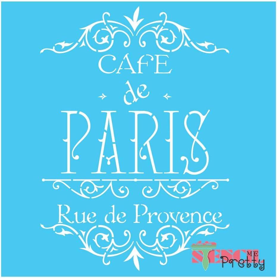 Brilliant Blue Color Material 8 x 11 Cafe De Paris Elegant Stencil DIY Furniture /& Wall Sign-S