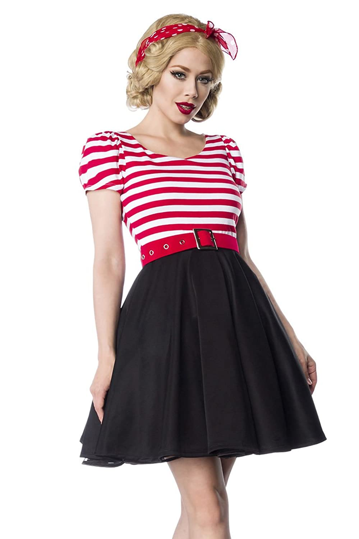 Retro Kleid, schwarz/weiß/rot