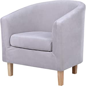 hyha 2 Pieces Velvet Tub Chair Cover with Cushion Cover, Removable Stretch Club Chair Slipcover for IKEA Tullsta, Armchair Furniture Protector for Living Room, Light Grey