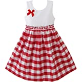 Girld Dress Red Tartan Sundress Kids Clothing Size 4-10