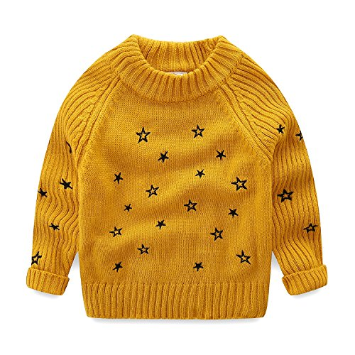 Mud Kingdom Toddler Girls Pullover Sweaters Cute Embroidered Stars 2T (Yellow Embroidered Sweatshirt)