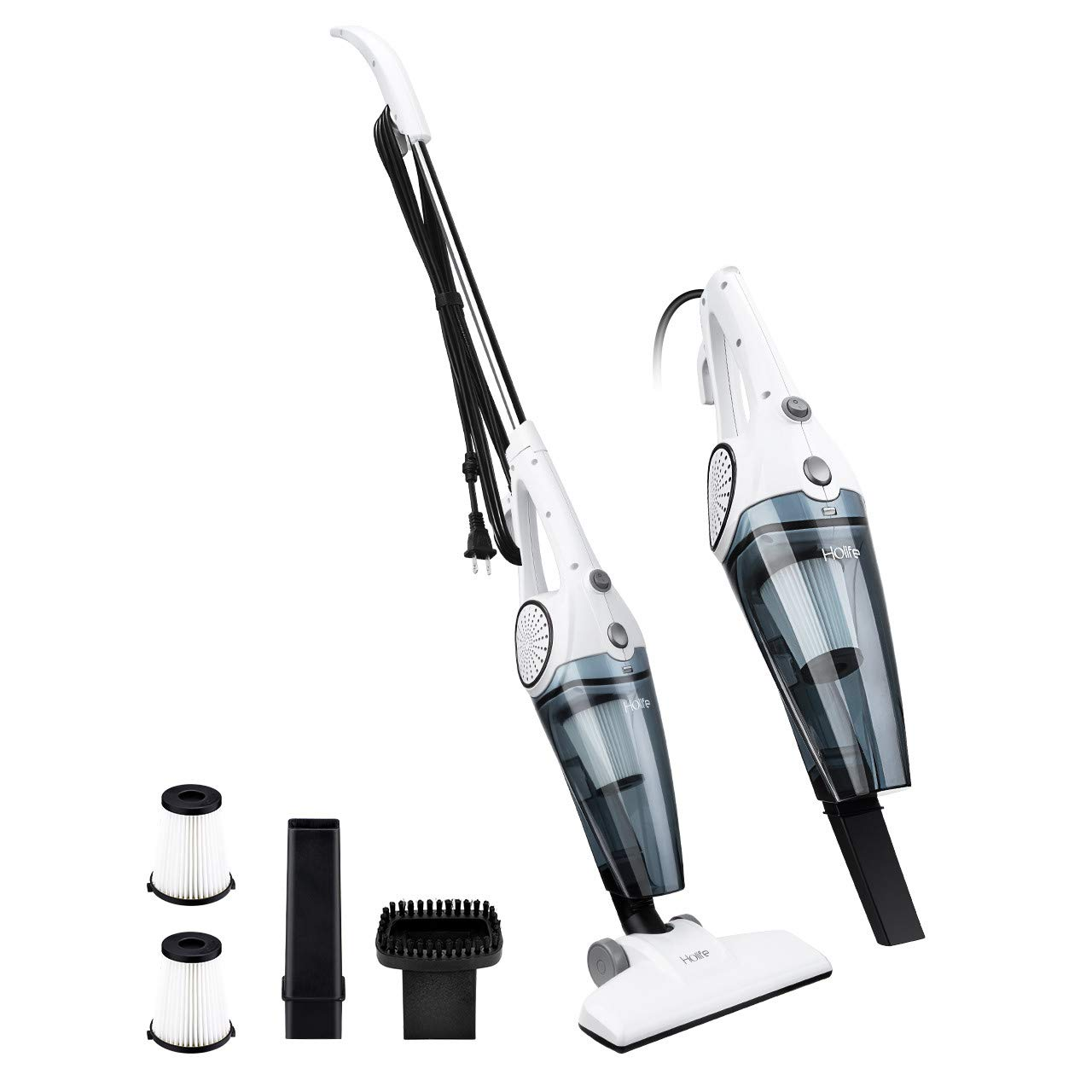 HoLife Stick Vacuum and Handheld Vacuum 2-in-1, Corded Vacuum Cleaner Lightweight Bagless Stick Hand Vacuum Cleaner, 12Kpa Strong Suction for Home Floor Dog Cat Pet Hair Dust Cleaning, 2 HEPA Filters