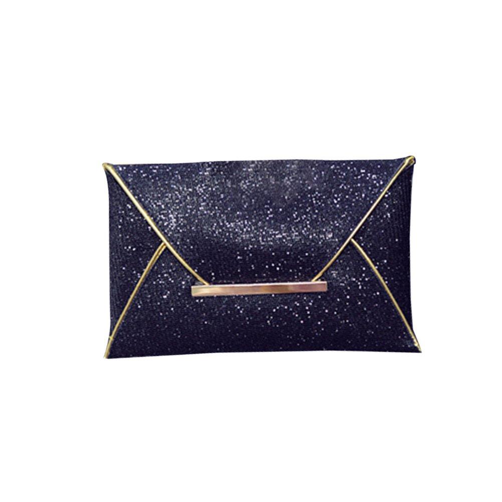 Tinksky Frauen-Sequins-Umschlag-Beutel-Funkeln-Kupplungs-Handtaschen-Partei-Abend-Beutel-Geldbeutel-Mappe für Frauen-Mädchen (Schwarzes)