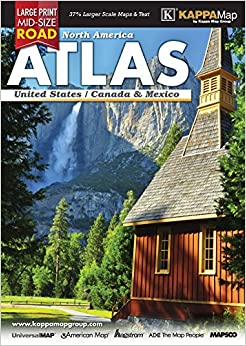 2017 North America MidSize Large Print Road Atlas Kappa Map