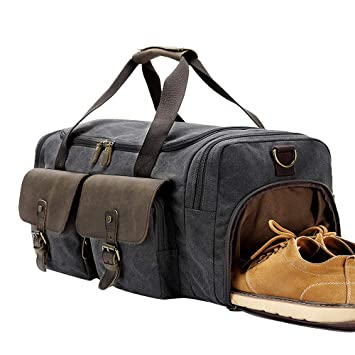 Image Unavailable. Image not available for. Color  BLUBOON Canvas Duffle Bag  Oversized Genuine Leather Overnight Weekend ... bdcb4e40be