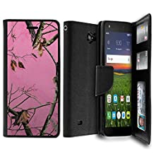 For ZTE Majesty Pro Case, Majesty Pro Wallet Case[MAX WALLET] Dual Purpose Wallet Case, Phone Protector and Wallet Style Design Card ID Slot Custom Print Design By Untouchble - Pink Tree Camo