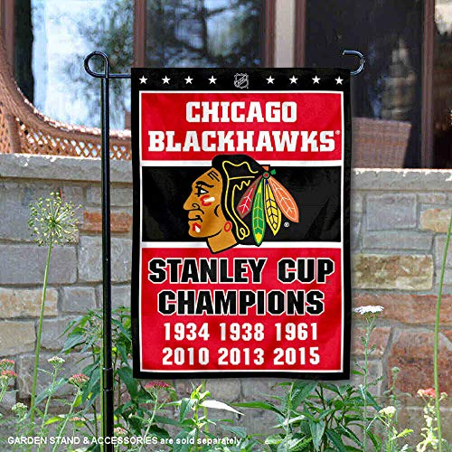 Wincraft Chicago Blackhawks 6 Time Stanley Cup Champions Double Sided Garden Flag