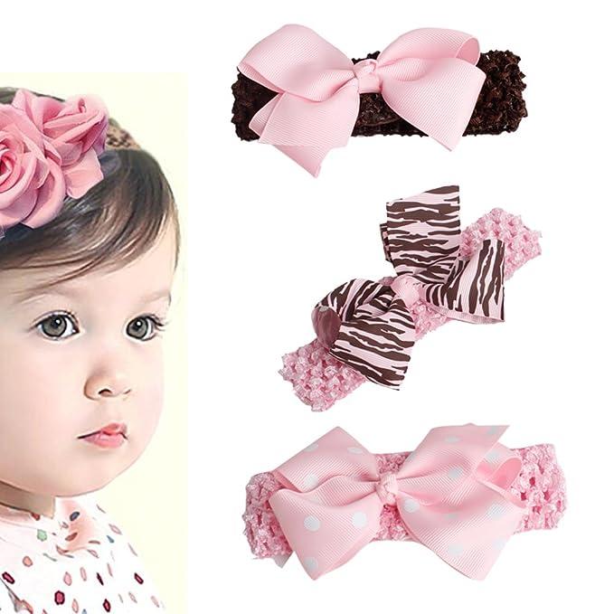 Vellette 3 pezzi di Fiore Carino fascia dei capelli del bambino elastico pizzo  fascia  Amazon.it  Abbigliamento 333f4c06f9a7