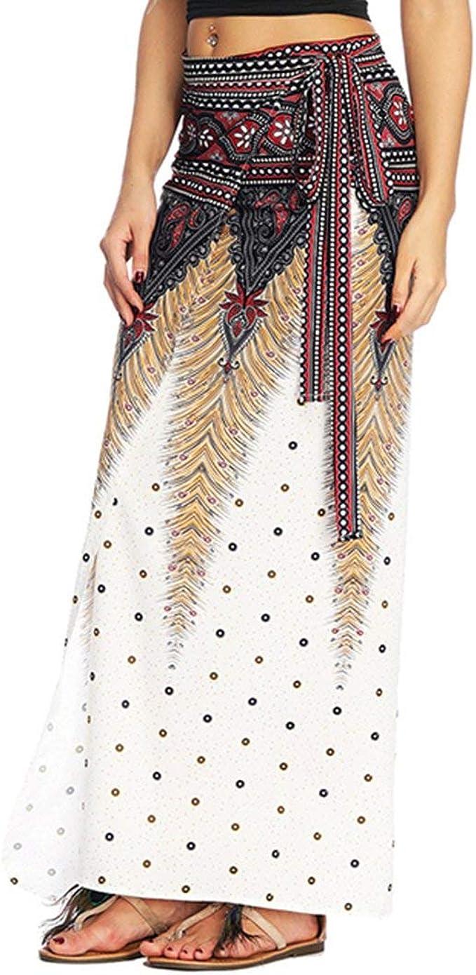 Mujeres Boho Impreso Tie Wrap Up Cintura Falda Cover Tallas Ropa ...
