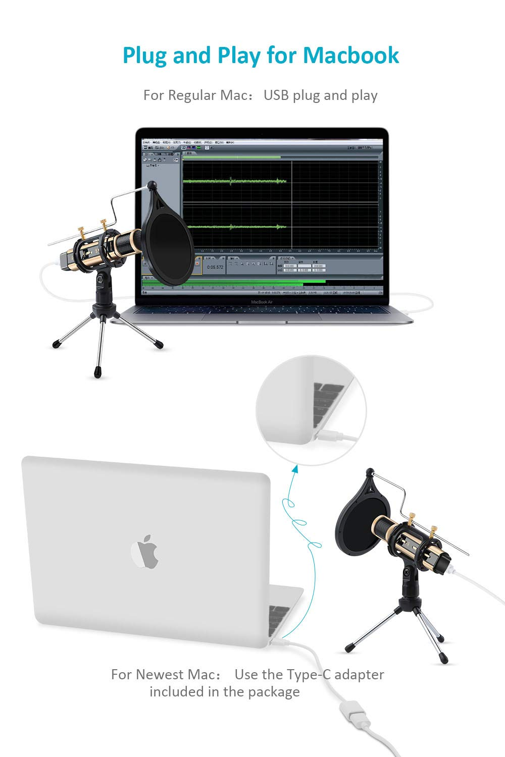 USB Microphone, ZealSound Metal Condenser Recording Microphone For Laptop MAC Windows Computer And Phone w/Stand for ASMR Garageband Smule Stream & Youtube Video Studio Voice Overs Broadcast (Gold) by ZealSound (Image #6)