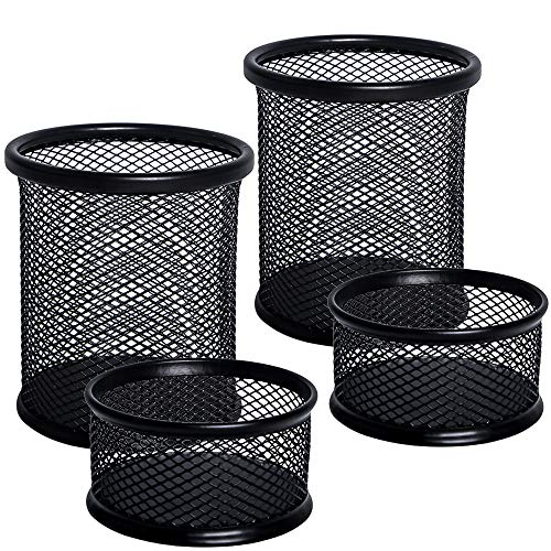 4 Pack Clip Pen - JPSOR 4 Pack Pencil Pen and Paper Clip Holder - Mesh Metal Black Pen Pencil Cups Paper Clips Organizer for Desk Office and School