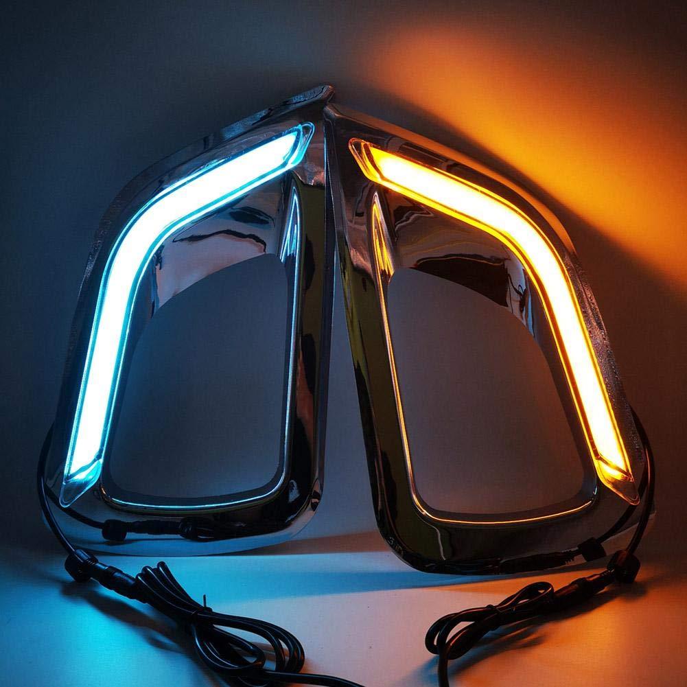 Luce di marcia diurna 2 pezzi 12V LED Luce di marcia diurna a due colori con indicatore di direzione adatto per Navara NP300 15-18