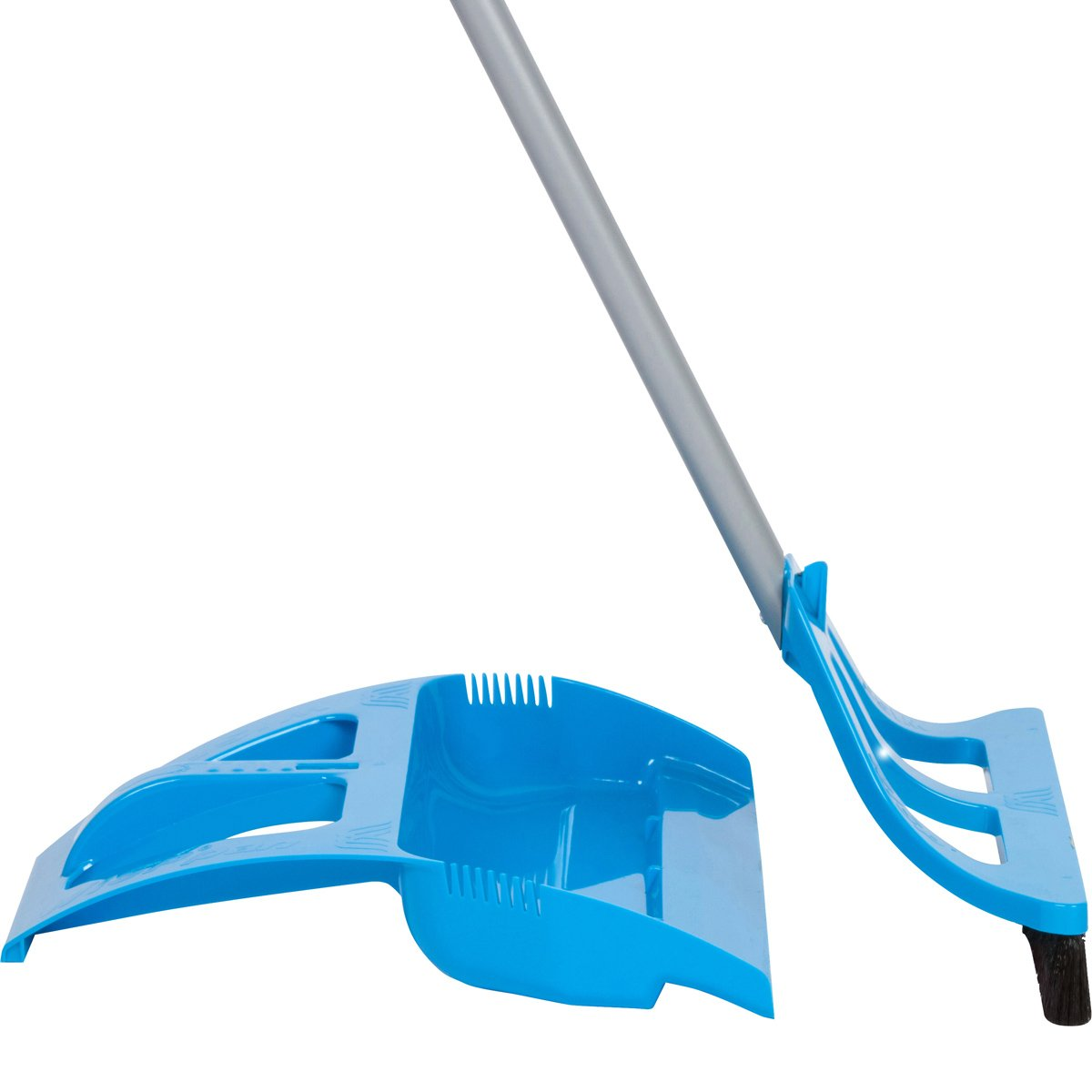 WISPsystem Best 90 Degree Angle One-Handed Broom with Dustpan and Telescoping Handle w/Bristle Seal Technology (Blue)