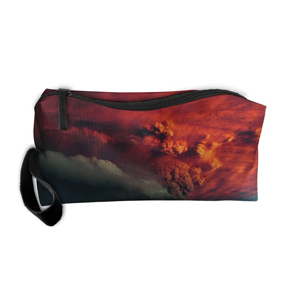Kla Ju Portable Pencil Bag Purse Pouch Volcanic Smoke Picture Stationery Storage Organizer Cosmetic Holder