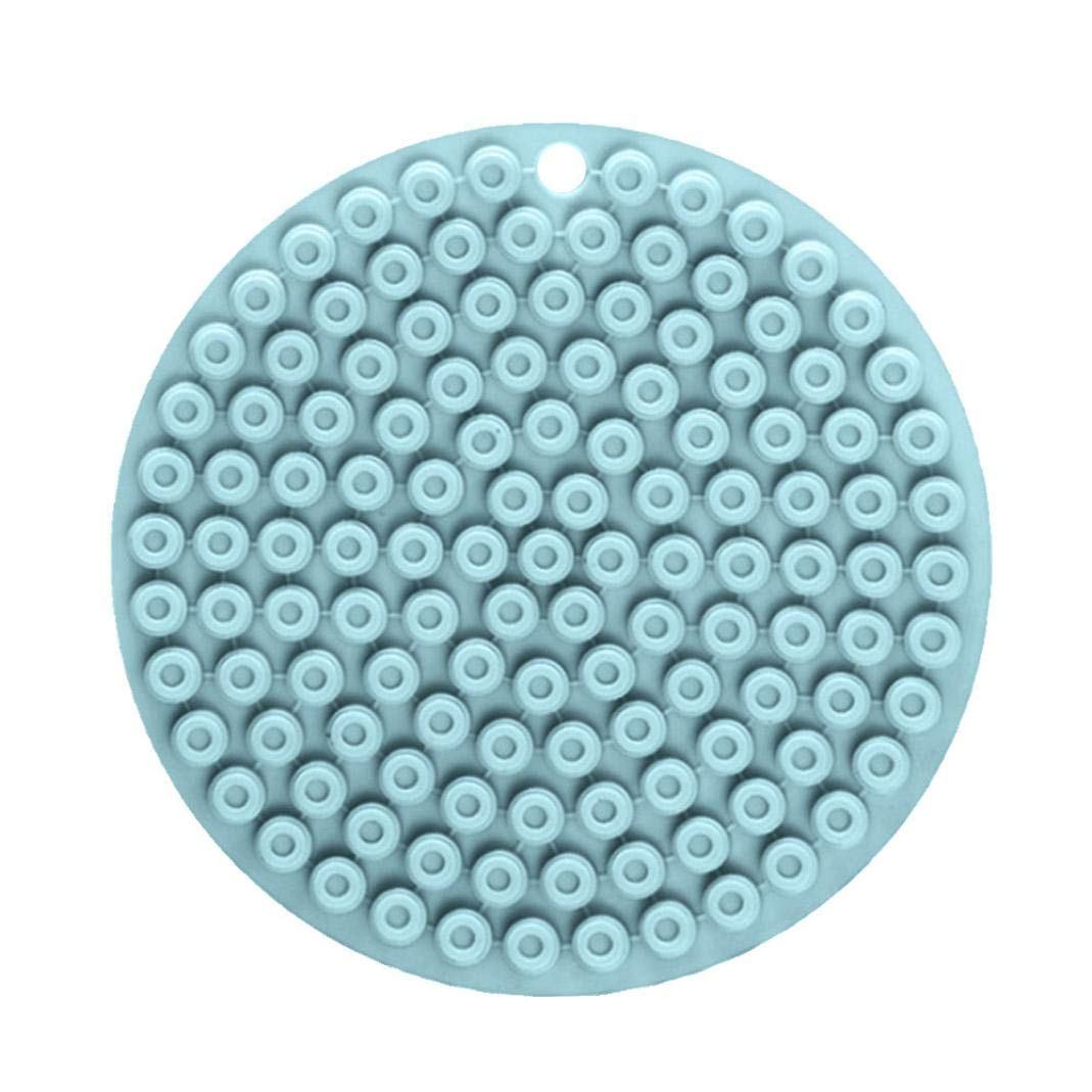 FreshZone Silicone Insulation Pad ☼ Durable Silicone Round Non Slip Heat Resistant Mat Coaster Cushion (Blue)