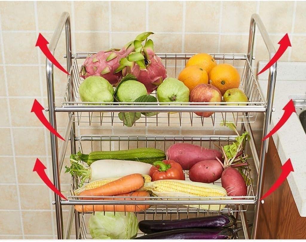 und Obstkorb Regalboden Mehrschichtwagen Obst und Gem/üsewagen CNDY Ablagekorb 304 Edelstahlschale K/üchenregal Gem/üse