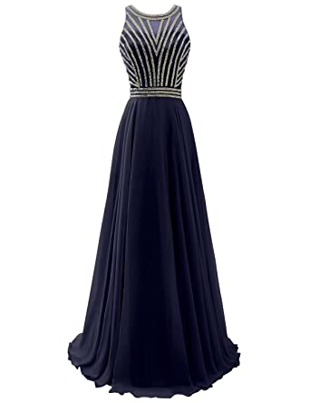 Clearbridal Long Chiffon Prom Dresses Halter Top A Line Evening Gown With Beads Floor Length Party