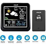 FLYLAND Estación meteorológica inalámbrica, estación de pronóstico Digital de termómetro Interior y Exterior con Alarma, Monitor de Temperatura y Humedad en el hogar, higrómetro y Sensor Remoto
